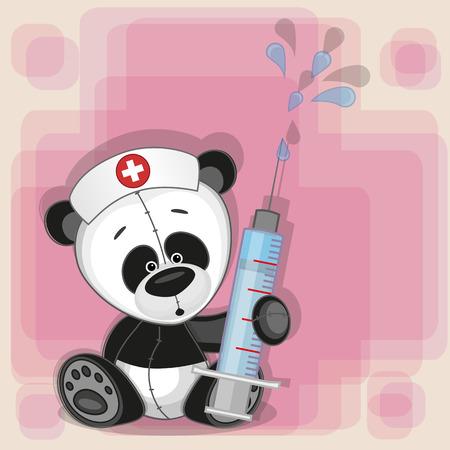 nurse cap: Panda enfermera con una jeringa en la mano Vectores