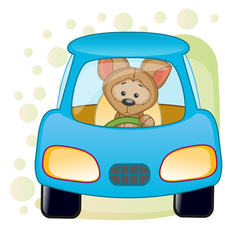 cartoons animals: Cute Puppy is sitting in a car