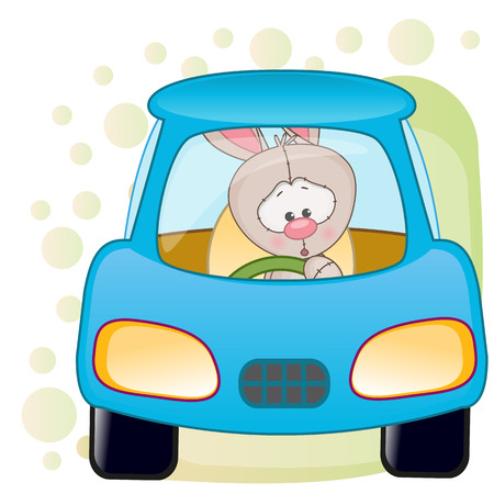 carro caricatura: Lindo conejo está sentado en un coche Vectores