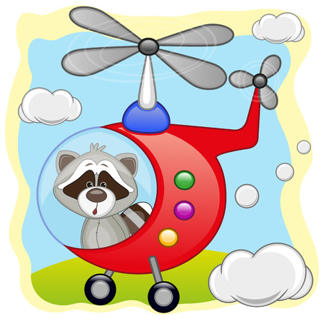 freeride: Raccoon is flying in a helicopter  Illustration