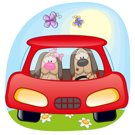 cartoons animals: Two Dogs is sitting in a car