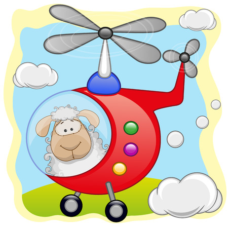 Sheep is flying in a helicopter  Vector