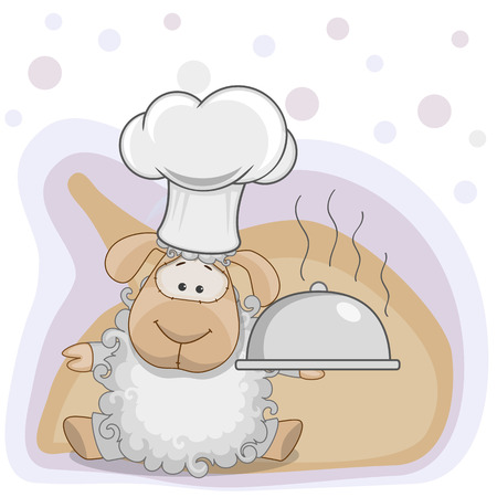 Cook Sheep with a tray in hand Vector