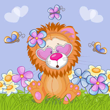 Lion with flowers and butterflies  Vector