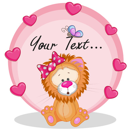 Greeting card Lion girl with hearts  Vector