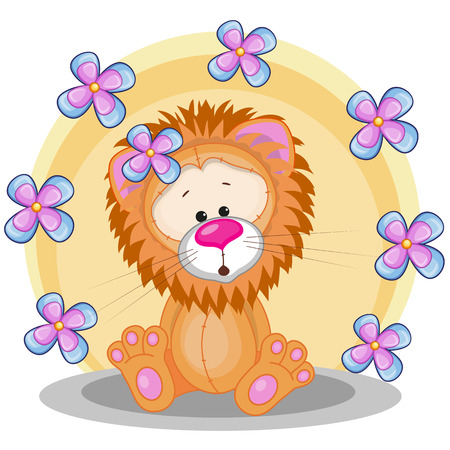 Greeting card Lion with flowers  Vector