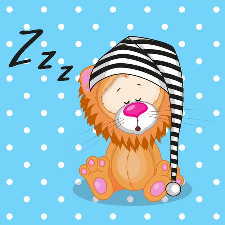 Sleeping Lion in a cap  Vector