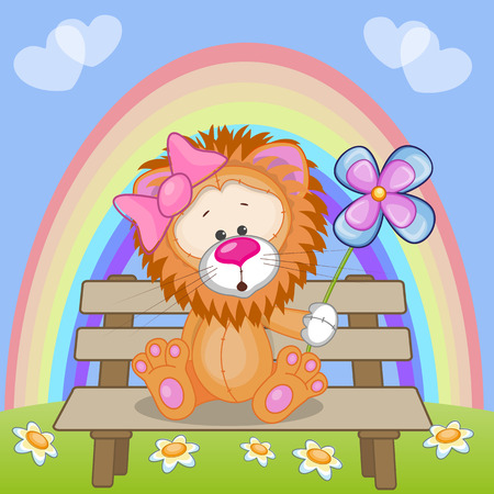 Greeting card Lion with flower  Vector