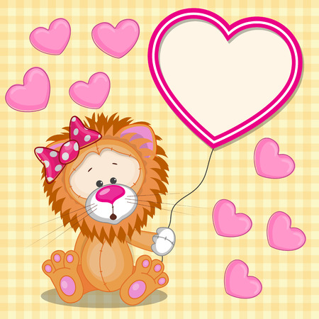 Valentine card with Lion with heart frame  Vector