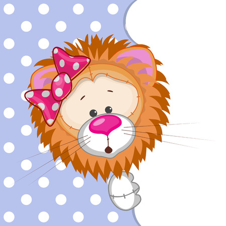 lamb cartoon: Lion peeking out from behind the clouds  Illustration