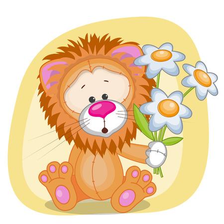 Carte de voeux avec des fleurs Lion