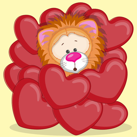 Valentine card with Lion in hearts  Vector