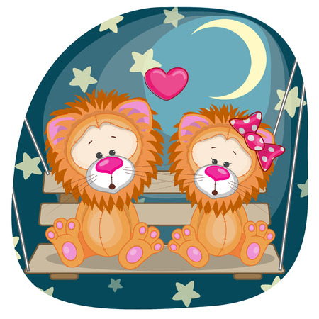 Valentine card with Lovers Lions on the swing  Vector