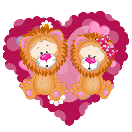Two Lions on a background of heart  Vector