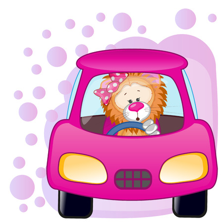Cute Lion girl is sitting in a car  Vector