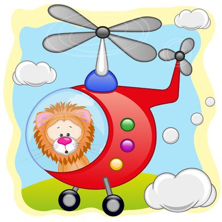 leon bebe: León está volando en un helicóptero