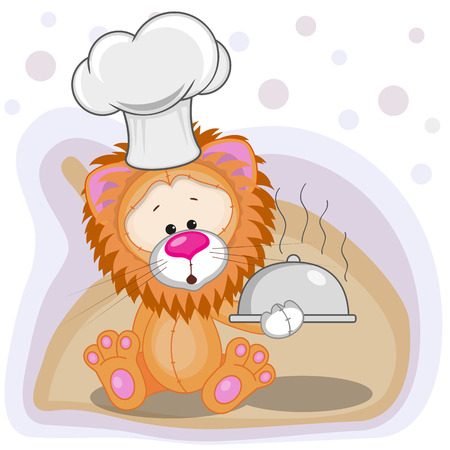 Cook Lion with a tray in hand  Vector