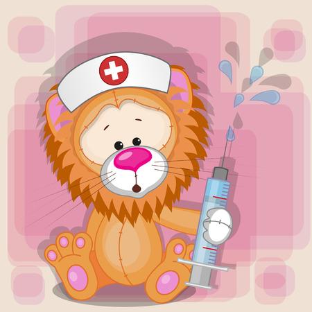 nurse cap: Enfermera León con una jeringa en la mano