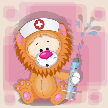 health cartoons: Lion nurse with a syringe in his hand