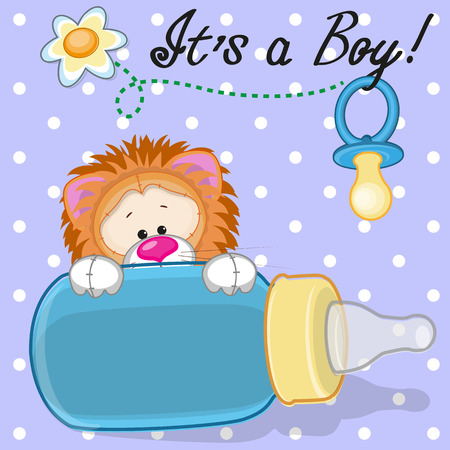 diaper pins: Cute Lion with feeding bottle
