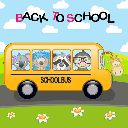 Сartoon school bus with animals Illustration