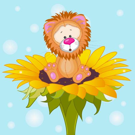 Cute cartoon Lion on the flower