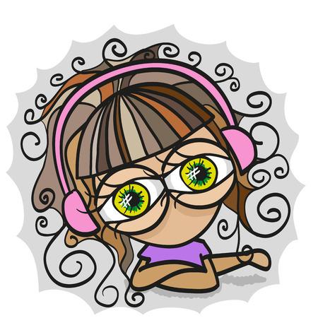 Doodle character girl with headphones Vector