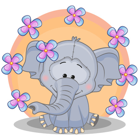 cartoons animals: Greeting card Elephant with flowers  Illustration