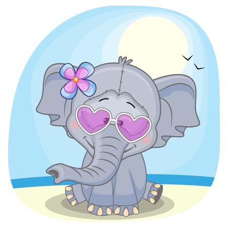 선글라스 해변에서 귀여운 코끼리 소녀
