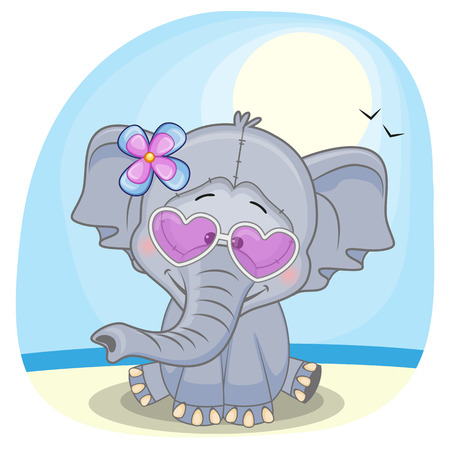 cartoons animals: Cute Elephant girl in sunglasses on the beach