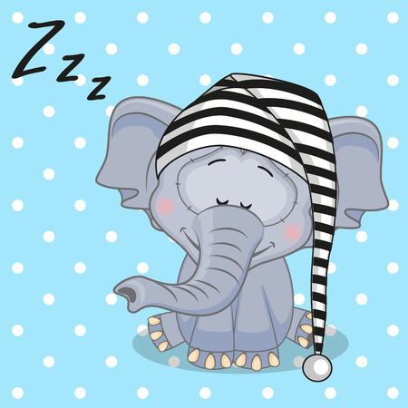 Slapen Olifant in een cap Stock Illustratie
