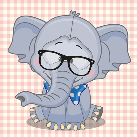 teenagers only: Hipster Elephant on a plaid background  Illustration