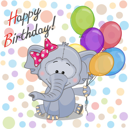 Greeting card Elephant with balloons  Vector