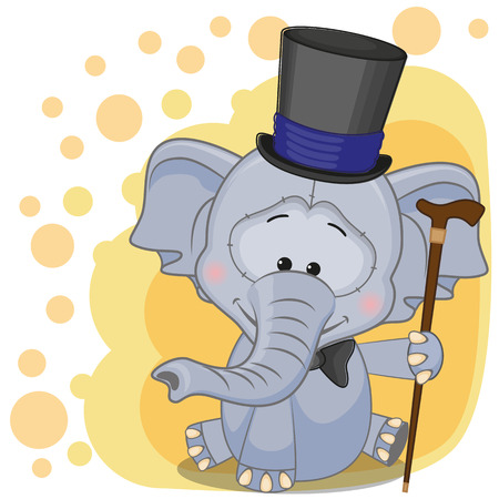 Greeting card Elephant in hat  Vector