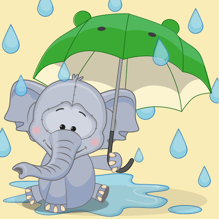Greeting card Elephant with umbrella  Vector