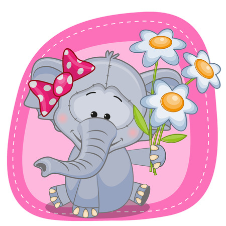 Greeting card Elephant with flowers  Vector