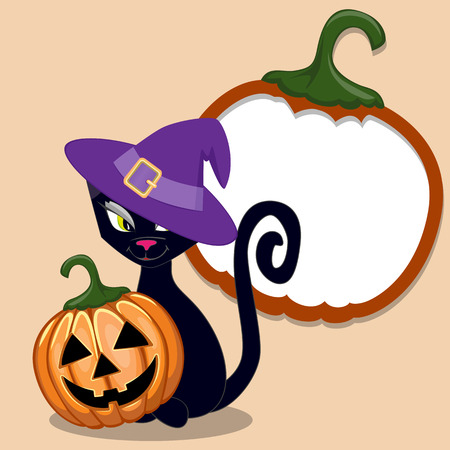 Halloween illustration of Cartoon Black cat with pumpkin  Vector