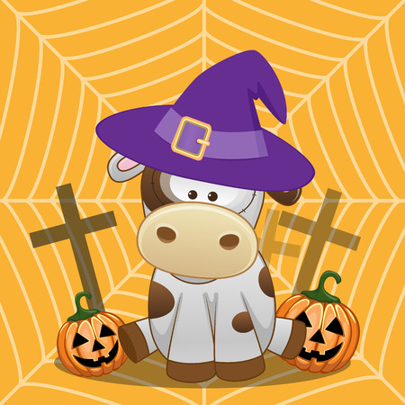 lady cow: Halloween illustration of Cartoon Cow with pumpkin