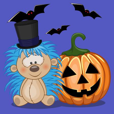 cartoon hedgehog: Halloween illustration of Cartoon Hedgehog with pumpkin  Illustration