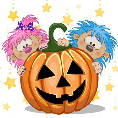 cartoon hedgehog: Halloween illustration two Cartoon Hedgehogs with pumpkins  Illustration