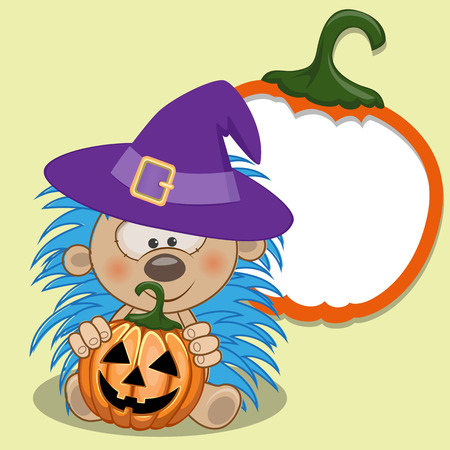 h�risson cartoon: Halloween illustration de h�risson de bande dessin�e avec de la citrouille