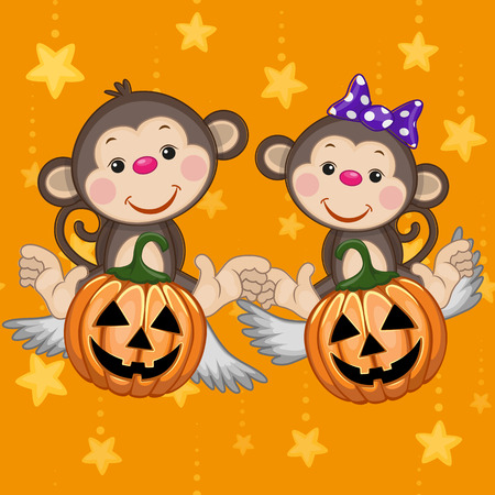Halloween illustration two Cartoon Monkeys with pumpkins  Vector