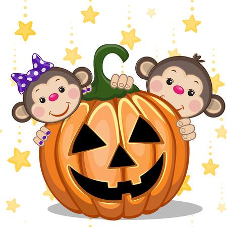 Halloween illustration two Cartoon Monkeys with pumpkins Vectores