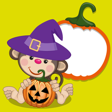 Halloween illustration of Cartoon Monkey with pumpkin  Vector