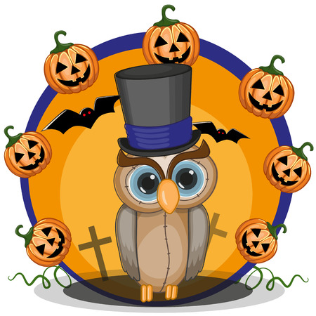 Halloween illustration of Cartoon Owl with pumpkin  Vector
