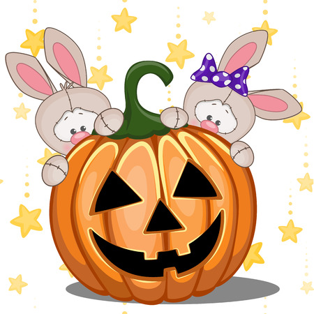 Halloween illustration two Cartoon Rabbits with pumpkins  Vector