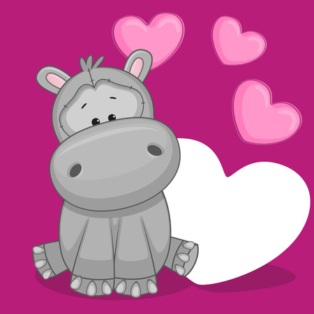 Greeting card Hippo with hearts Vector