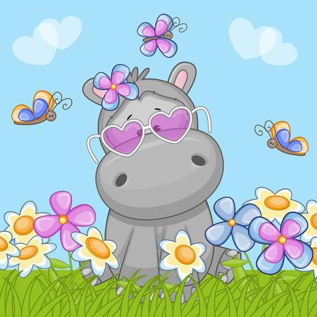 hipopotamo dibujos animados: Hipopótamo con flores y mariposas