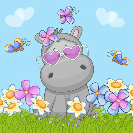 butterfly bow: Hippo with flowers and butterflies