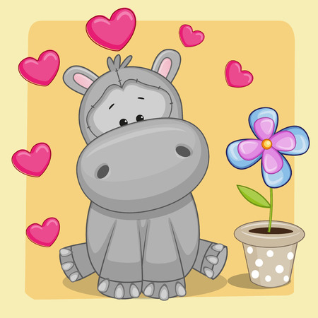 Greeting card Hippo with heart and flower